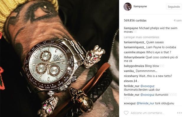 Liam Payne tatuou desenho do olho de Cheryl Cole (Foto: Reprodução/Instagram)