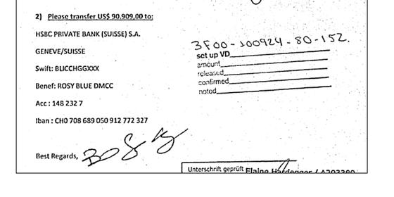 Informações sobre conta da offshore Rosy Blue DMCC na Suíça (Foto: Reprodução)