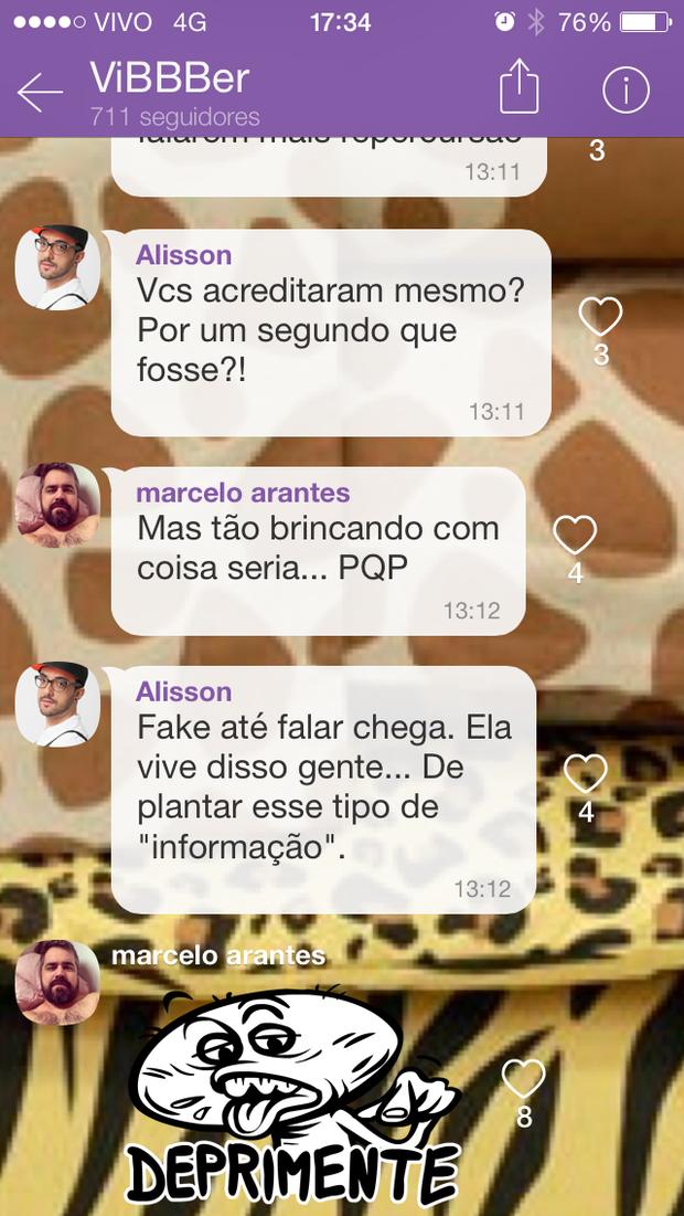 Ex-BBBs questionam estado de saúde de Andressa Urach (Foto: Reprodução / Viber)