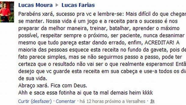 lucas mensagem são paulo (Foto: Reprodução/Facebook)