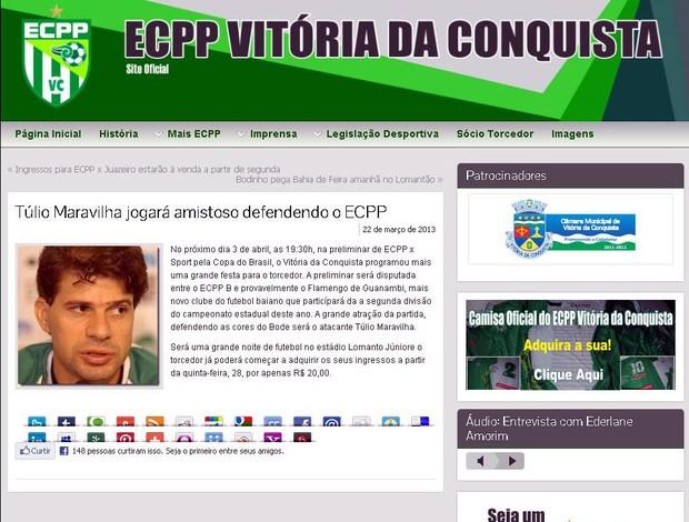 Vitória da Conquista anuncia amistoso com a participação de Túlio Maravilha (Foto: Reprodução)