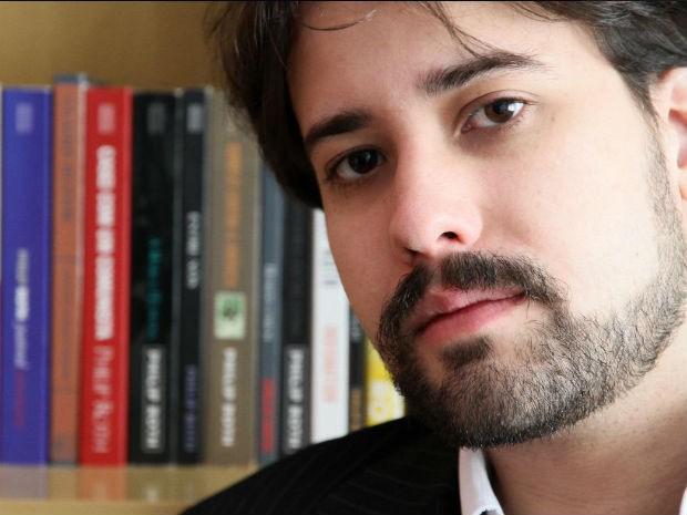 Felipe Munhoz leve ler trecho do seu romance 'Mentiras' para Philip Roth (Foto: Arquivo pessoal)