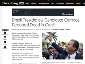 Reportagem fala sobre a morte de Eduardo Campos, no site da Bloomberg (Foto: Reprodução/Bloomberg)