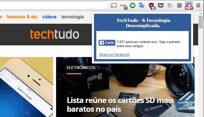 Social Plugin coloca atalho no Chrome para compartilhar páginas (Foto: Reprodução/Paulo Alves)