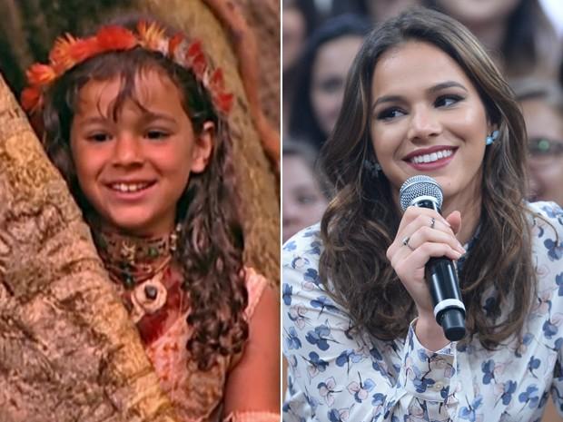 À esquerda, Bruna Marquezine como uma índia em 2004 e, à direita, em momento de 2015 (Foto: Vídeo Show / Zé Paulo Cardeal / TV Globo)
