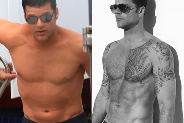 Ricky Martin usa maquiagem para esconder tatuages em 'American Crime Story' (Foto: AKM-GSI e Reprodução)