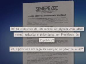Questionamentos de carta do Sinepe causaram polêmica (Foto: Reprodução/RBSTV)
