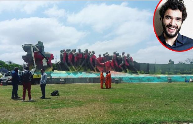 Caio Blat posta foto do monumento pichado (Foto: Reprodução)