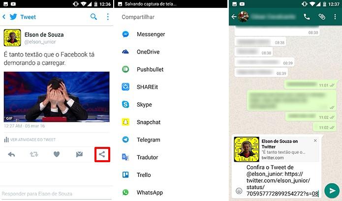 Twitter pode ter conteúdo compartilhado em outros aplicativos (Foto: Reprodução/Elson de Souza)