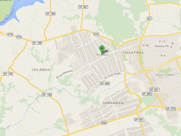 Mapa da região administrativa de Ceilândia, no Distrito Federal (Foto: Google Maps/Reprodução)