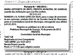 Diário Oficial de Guarujá onde mostra a nomeação do marido da prefeita (Foto: Reprodução/Diário Oficial de Guarujá)