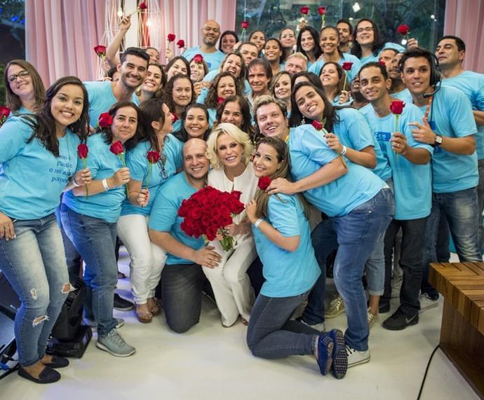 Roberto Carlos e Ana Maria nos bastidores do 'Mais Você'  (Foto: Divulgação)