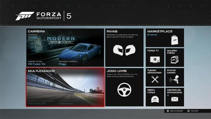 Forza 5: Acesse a seção multijogador no menu principal (Foto: Reprodução/ Matheus Vasconcellos)