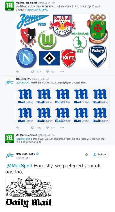 Discussão entre Zenit e Daily Mail pelo Twitter (Foto: Reprodução/ Twitter)