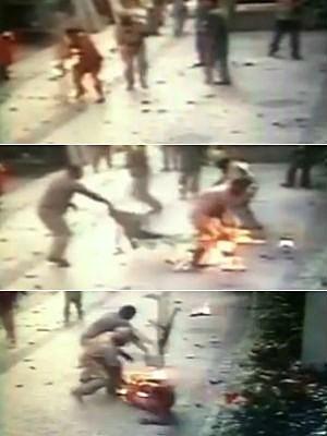 Vídeo mostra operário com roupa em chamas após explosão na Tijuca (Foto: Reprodução/TV Globo)