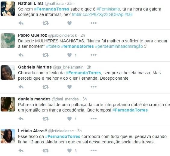 Internautas criticam Fernanda Torres no Twitter (Foto: Reprodução/Twitter)