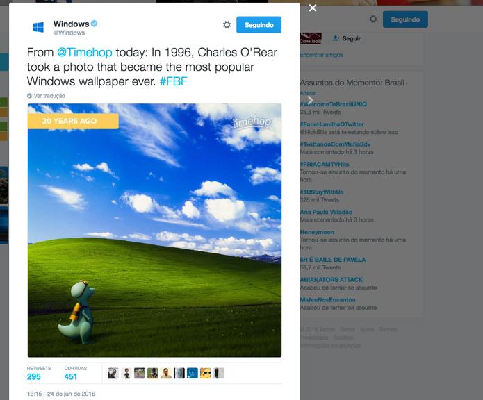 Wallpaper Bliss, do Windows XP, faz 20 anos em 2016 (Foto: Reprodução/Twitter)