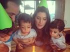 Isabella Fiorentino comemora aniversário com trigêmeos