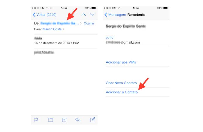 Utilizando a ferramenta para incluir um endereço de e-mail a um card de contato cadastrado em um dispositivo iOS (Foto: Reprodução/Marvin Costa)
