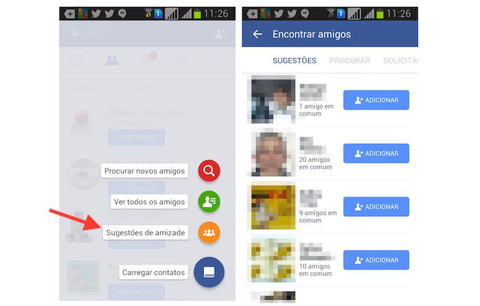 Acessando a página de sugestões de amizade do Facebook em dispositivos Android (Foto: Reprodução/Marvin Costa)