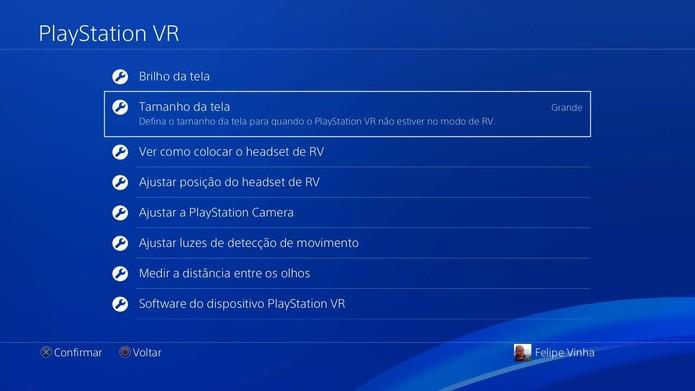 Configurações gerais do PS VR (Foto: Reprodução/Felipe Vinha)