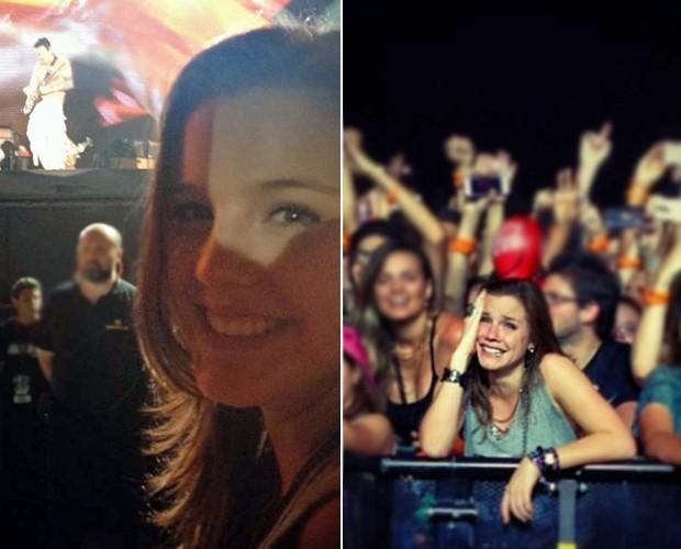 Alice superemocionada no show do americano John Mayer (Foto: Arquivo pessoal)
