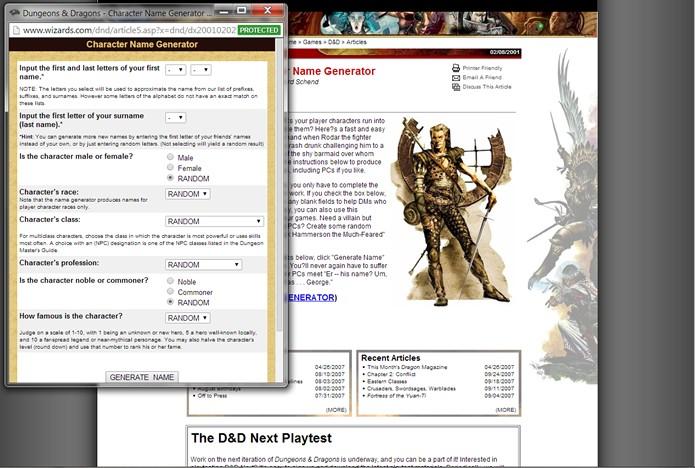 Inspirado em D&D, o site possui ótimos recursos para gerar nomes para personagens de games de RPG (Foto: Reprodução/Daniel Ribeiro)