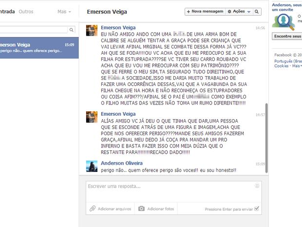 Policial militar faz ameaças e ofende internauta no Facebook (Foto: Reprodução/ Facebook)