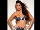 Ex-BBB Kamilla mostra barriga sequinha ao posar com biquíni retrô