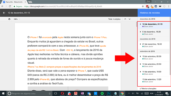 Google Docs mostra painel com todos os históricos de edição (Foto: Reprodução/Elson de Souza)
