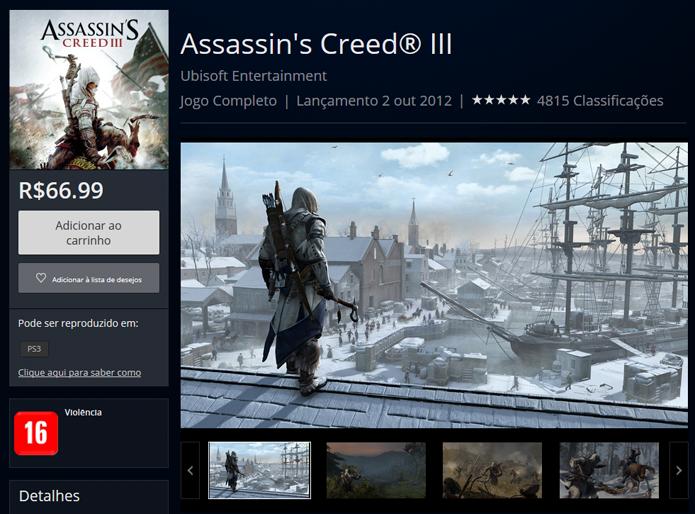 Página de Assassins Creed 3 na PS Store (Foto: Reprodução/André Mello)