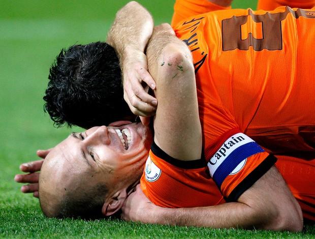 Robben comemoração Holanda contra Hungria (Foto: AP)
