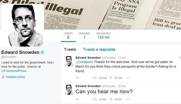 O ex-consultor da Agência de Segurança Nacional (NSA) americana Edward Snowden abriu uma conta no Twitter (Foto: Reprodução/Twitter/Edward Snowden )
