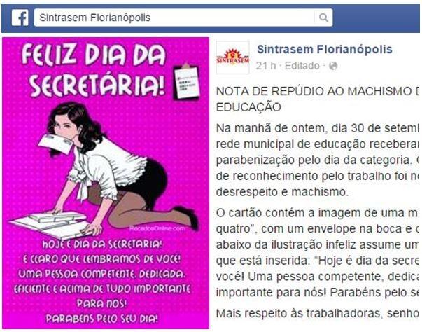 Sindicato publicou nota de repudio por mensagem enviada às secretárias  (Foto: Reprodução/Facebook)
