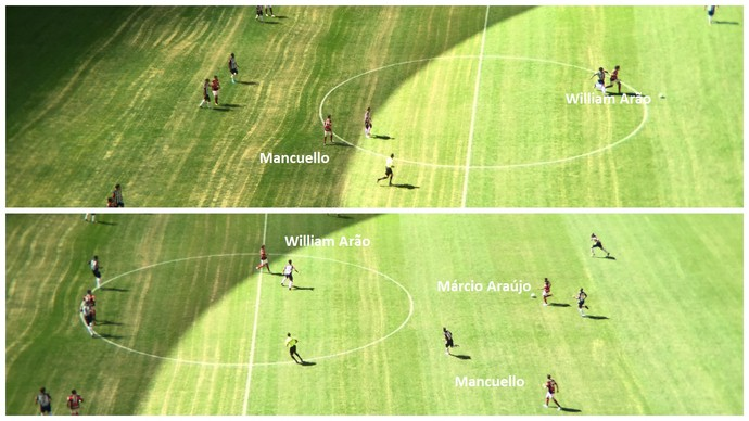 Mancuello mais recuado, para apoiar saída de bola acima. Abaixo, colado a Vizeu, como saiu o gol (Foto: Raphael Zarko)