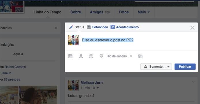 Criar posts de até 35 caracteres no PC e no celular dá maior destaque no Facebook (Foto: Reprodução/Facebook)
