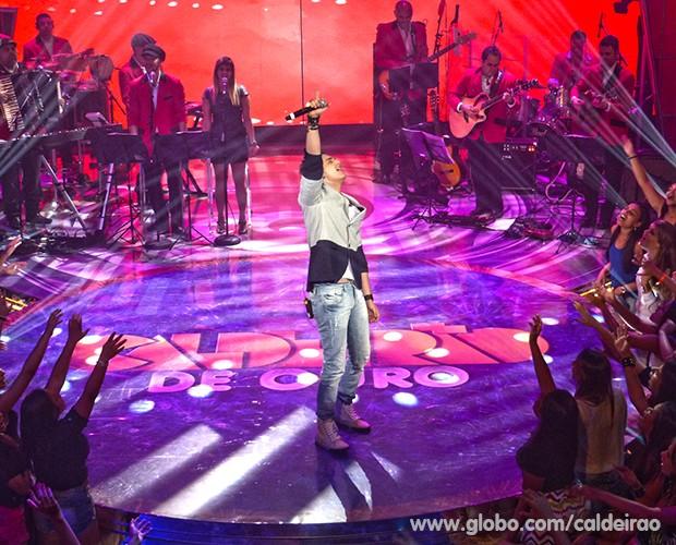 Luan Santana fica em segundo lugar com a música 'Te Esperando' (Foto: Caldeirão do Huck/TV Globo)