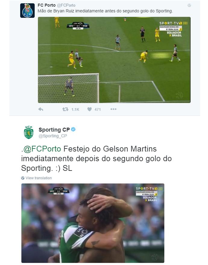 BLOG: Lance polêmico gera troca de provocações entre Porto e Sporting