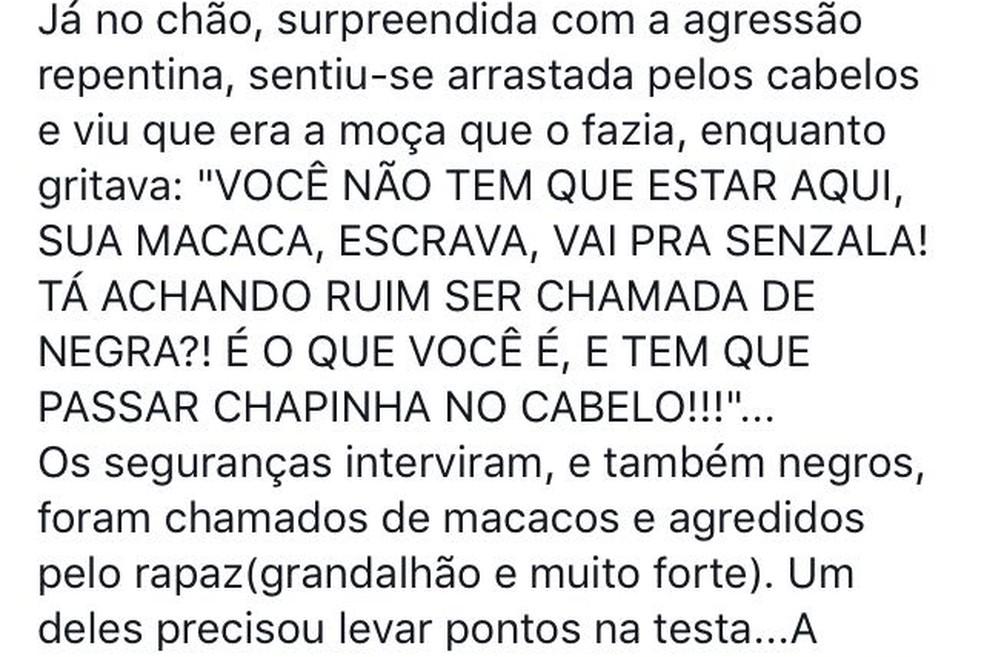 Publicação diz que a turista foi chamada de 'macaca' e escrava (Foto: Facebook/Reprodução)
