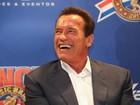 Arnold Schwarzenegger abre feira esportiva no Rio: 'Eu amo o Brasil'