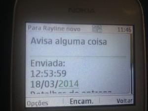Tio de Rayline respondeu SMS: Avisa alguma coisa (Foto: Luana Leão/G1)