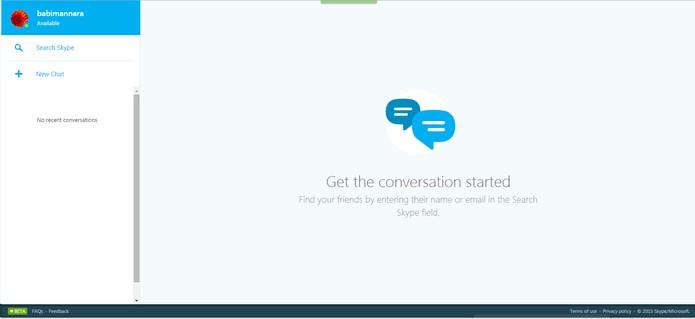 Interface do Skype web com contatos na lateral (Foto: Reprodução/Barbara Mannara)