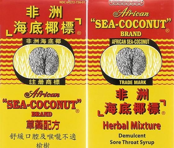 Embalagem do xarope chinês fabricado na Malásia com ilustração do coco-do-mar (Foto: © Haroldo Castro/Época)