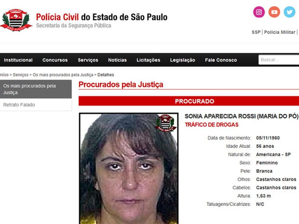 Maria do Pó é a única mulher na lista de mais procurados da polícia (Foto: Reprodução/Polícia Civil de SP)