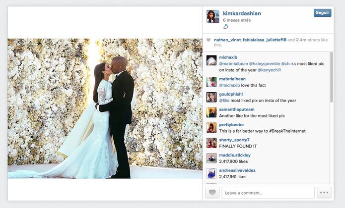 Casamento de Kim Kardashian com Kanye West rende a foto mais curtida de 2014 no Instagram (Foto: Reprodução/Instagram)