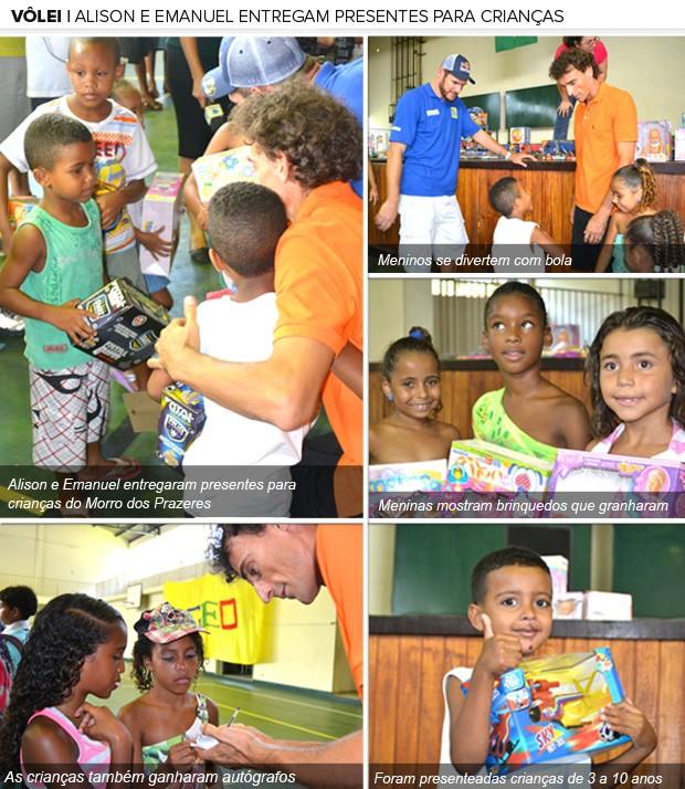 Galeria, Alison e Emanuel entregaram presentes para crianças do Morro dos Prazeres (Foto: Editoria de Arte / Globoesporte.com)