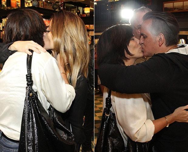 Glória Pires beija a filha Cleo Pires e o marido, Orlando Morais (Foto: Thyago Andrade/Foto Rio News)
