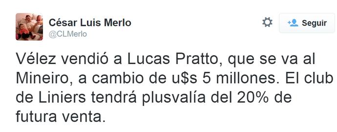 Jornalista César Luis Merlo informa que Vélez vendeu Pratto por 5 milhões de dólares ao Galo (Foto: Reprodução/Internet)