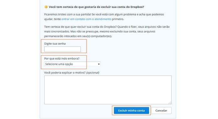 Conclua o processo para excluir sua conta do Dropbox (Foto: Reprodução/TechTudo)