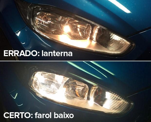 Veja diferença entre farol baixo, exigido agora de dia nas estradas, e a lanterna (Foto: Divulgação)